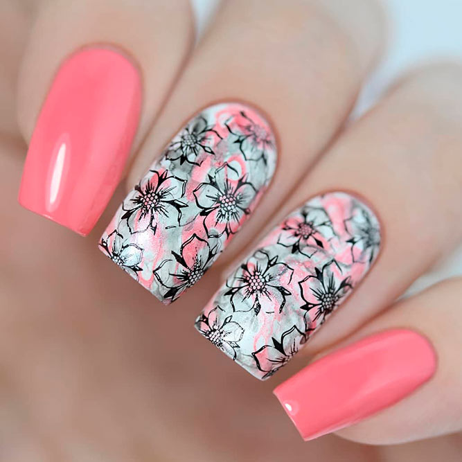 Quick And Easy Stamping Flowers #squarenails #pinknails #nailstamping