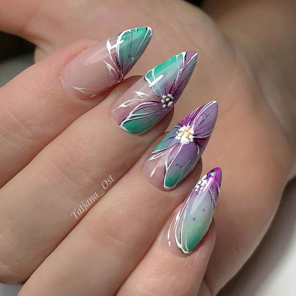 Pointed Nails With Summer Flowers #summernails #pointednails