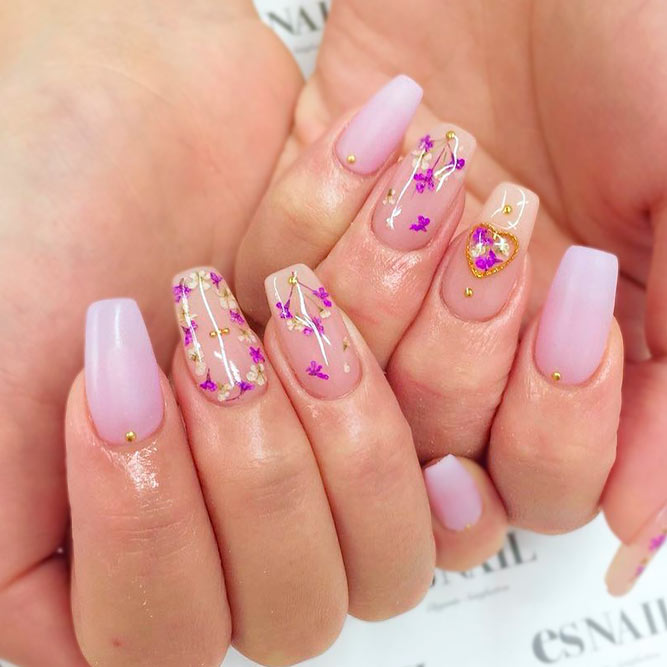 Amazing Dried Flowers On Your Nails #coffinnails