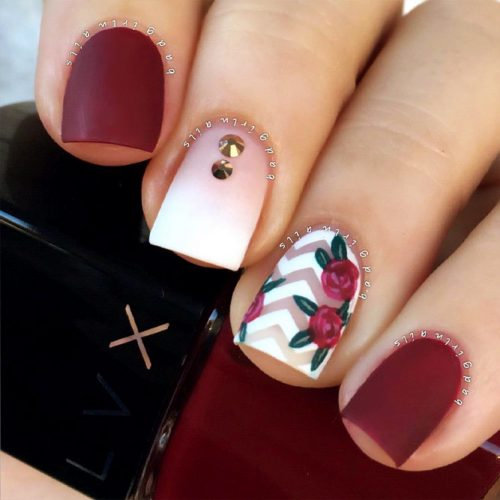 Fall Nails With Flowers Picture 2