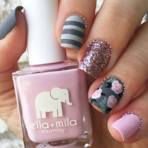 Fall Nails With Flowers Picture 1