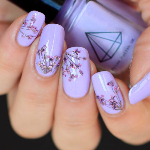 Amazing Dried Flowers On Your Nails #purplenails #squovalnails
