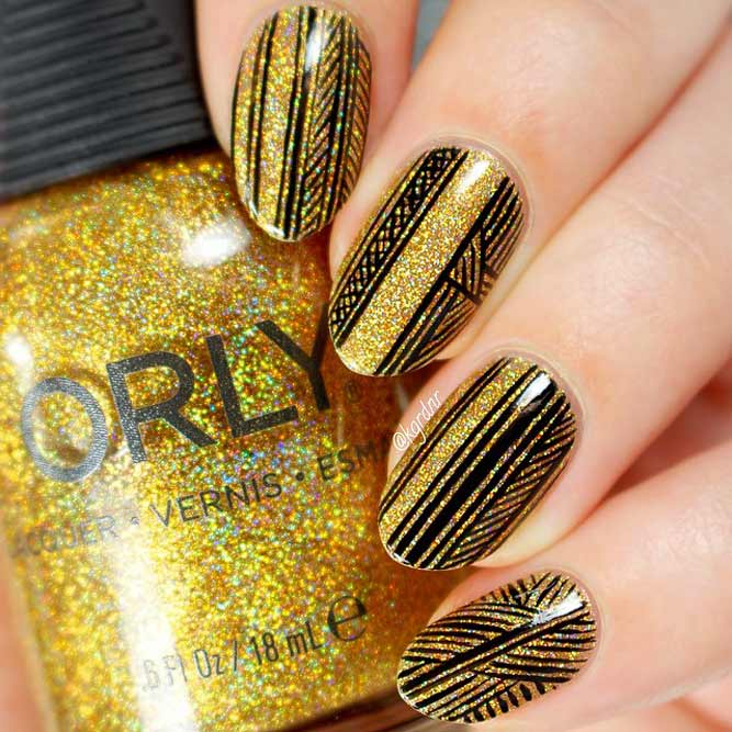 Gold Nails With Stamping Picture 1