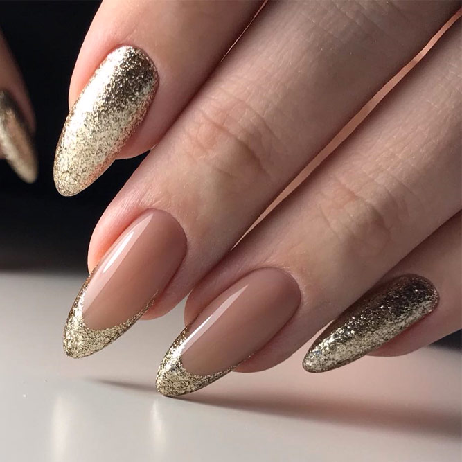French Gold Nail Designs #french