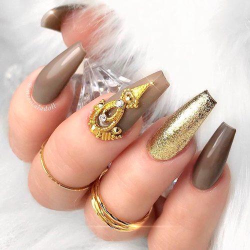 Gold Glitter Accented Finger #glitternails #longnails