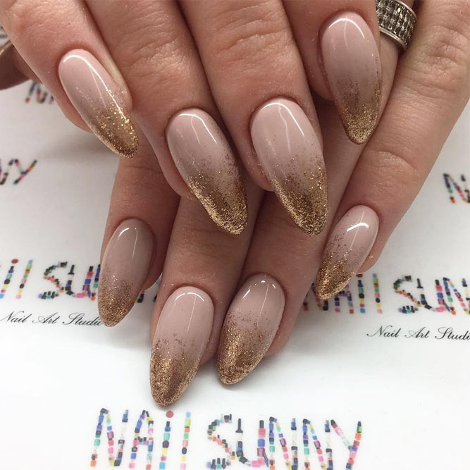 Gold Shimmer Ombre Nails #ombre