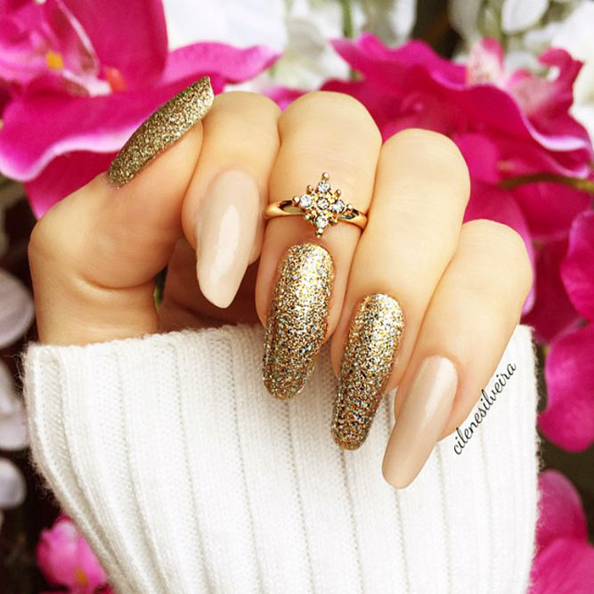 Cute Designs For Your Gold Nails Picture 3