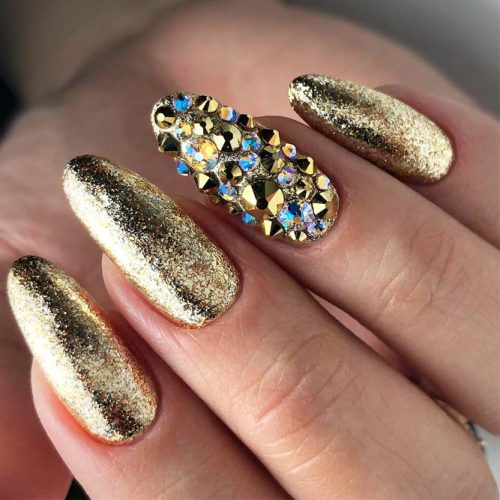 Gold Nail Design With Crystals Accent #crystals