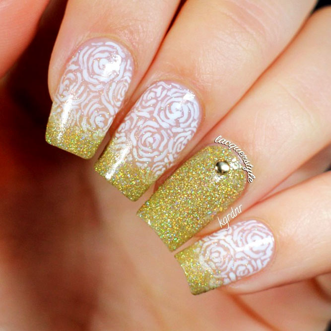 Trendy Ombre Nail Designs With Gold Glitter Picture 2