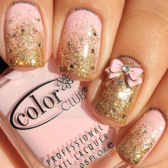 Trendy Ombre Nail Designs With Gold Glitter Picture 4