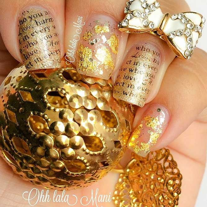 Gold Nails With Stamping Picture 2
