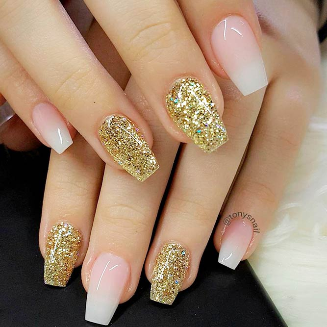 French Fade And Gold Glitter Nails #glitternails #ombrenails