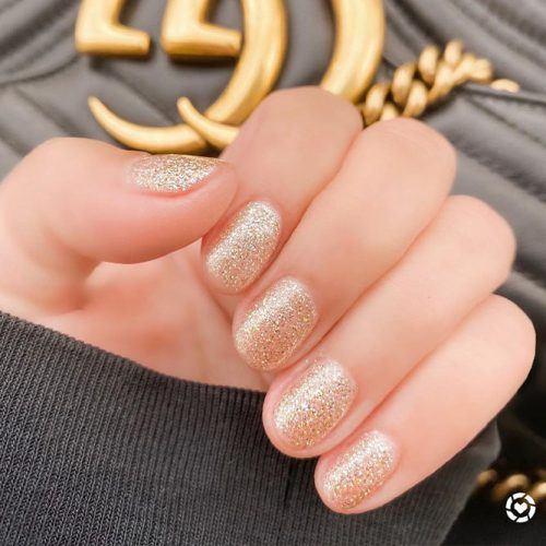 Easy Shirt Gold Glitter Nails #glitternails #shortnails