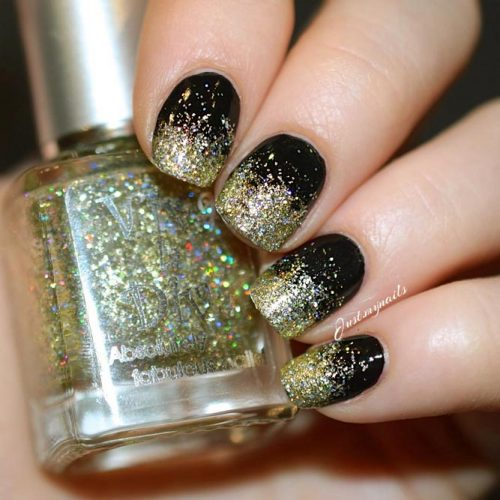 Trendy Ombre Nail Designs With Gold Glitter Picture 3