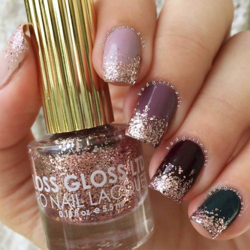 Trendy Ombre Nail Designs With Gold Glitter Picture 5