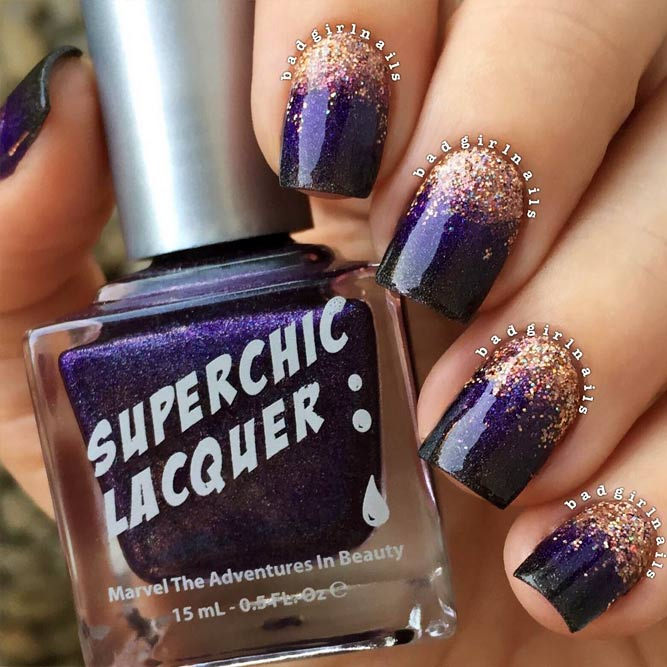 Trendy Ombre Nail Designs With Gold Glitter Picture 6