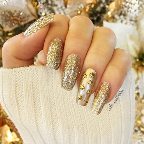 Every Day Is A Holiday With Gold Glitter Nails Picture 6