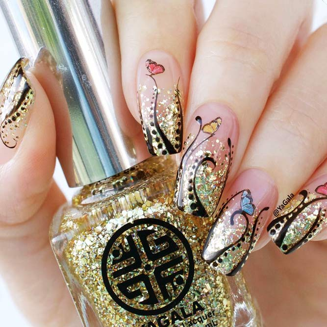 Trendy Ombre Nail Designs With Gold Glitter Picture 1