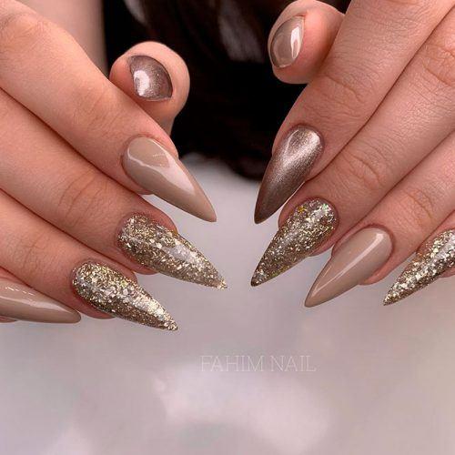 Easy Gold Nail Design #easynailart #stilettonails