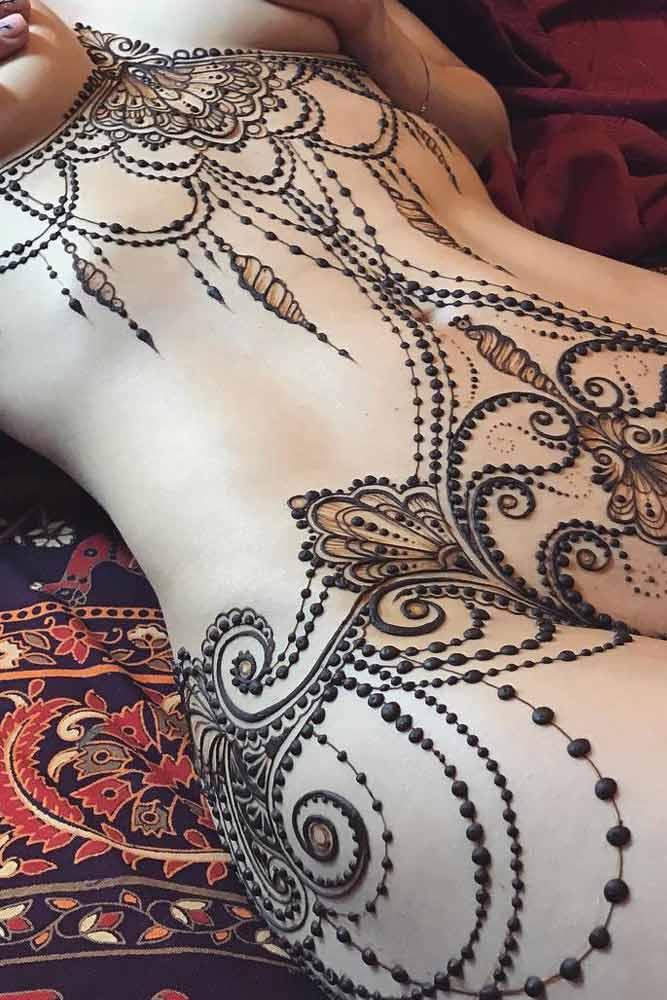 Beautiful Belly Henna Tattoo Idea #bellytattoo