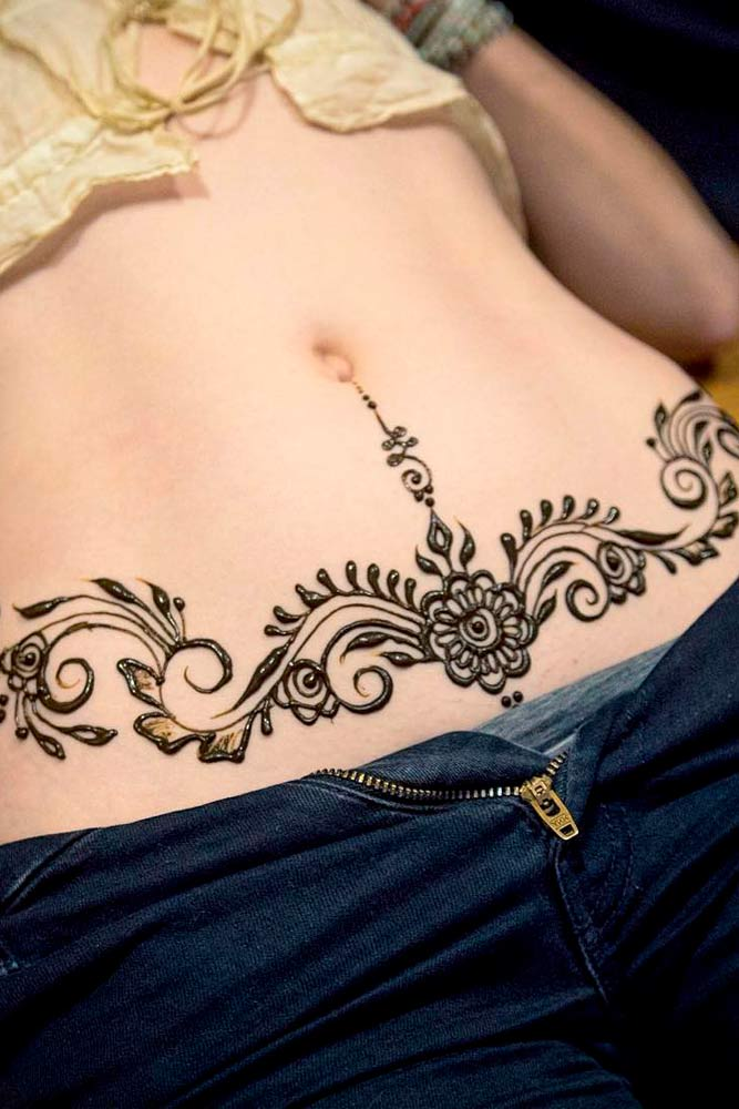 Beautiful Belly Henna Tattoos Picture 2