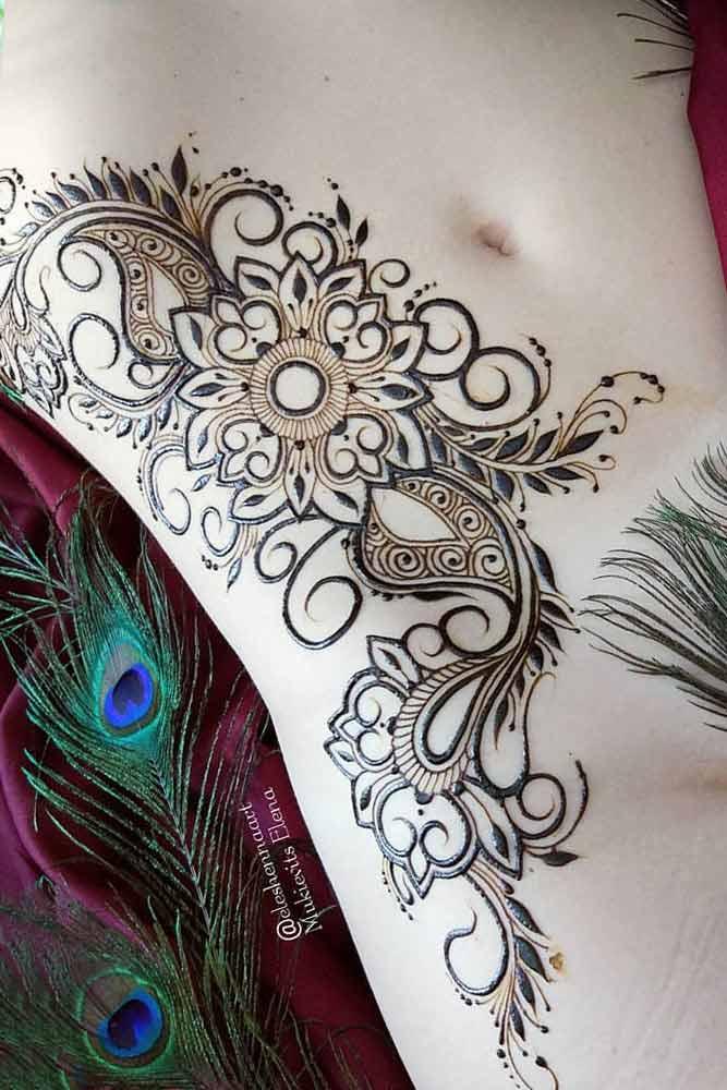 Side Belly Henna Tattoo Design #bellytattoo