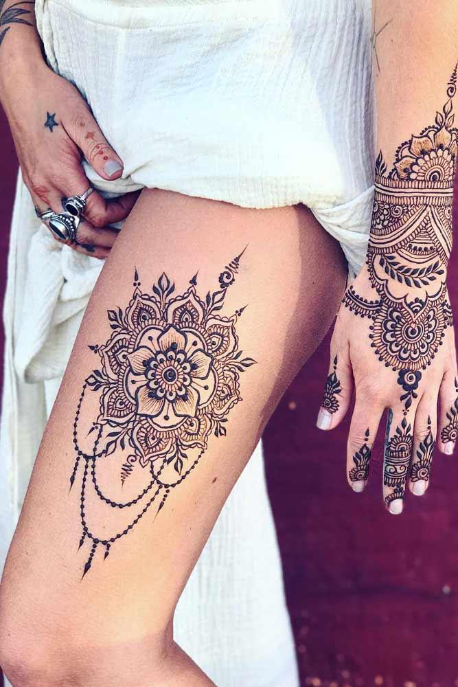 Thigh Henna Tattoo Design #thightattoo