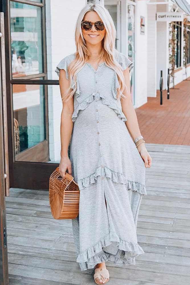 Gray Ruffles Maxi Maternity Dress #maxidress