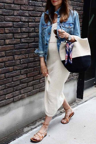 Maxi Summer Dress With Denim Jacket #casualdress