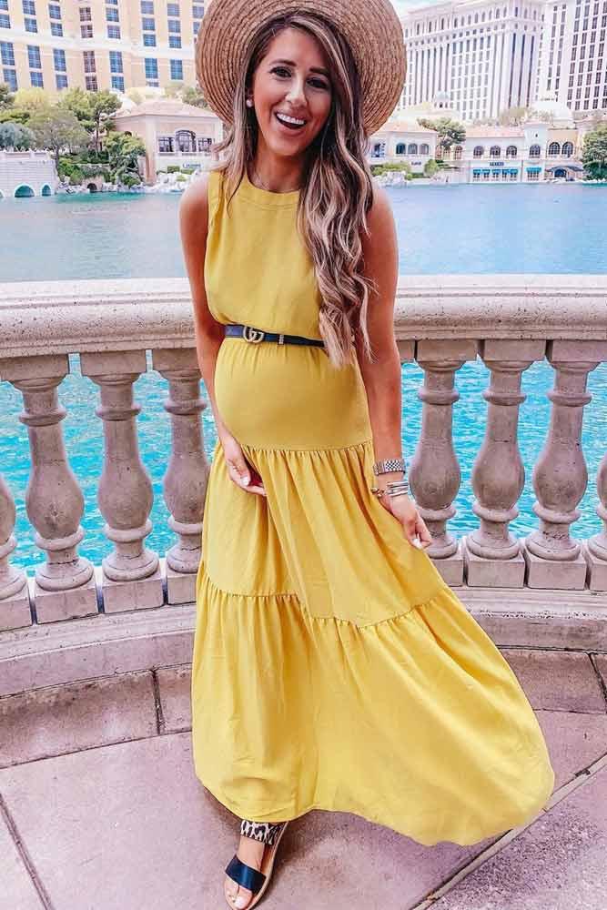 Yellow Maxi Maternity Dress #yellowmaxidress