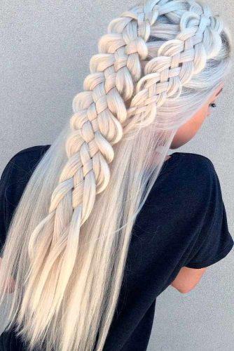 Stylish Looks Of Platinum Blonde Hair With Braids #braidedhair #longblondehair