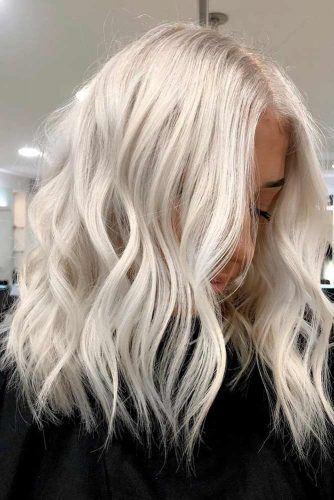 Medium Length Platinum Blonde Hair #mediumhair #wavyhair
