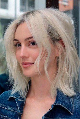 Medium Length Platinum Blonde Hair #lobblondehairstyles #shoulderlengthblonds