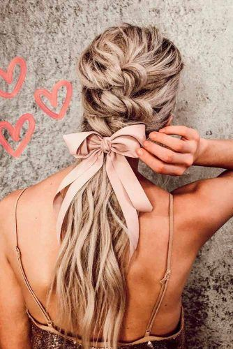 Braided Low Ponytail With Ribbon #ponytailhairstyles #braidedhairstyles