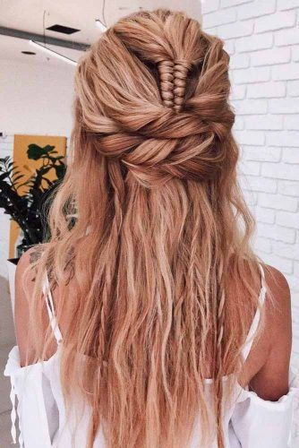 Twisted Half-Up With Braid #twistedhairstyles #longhairstyles