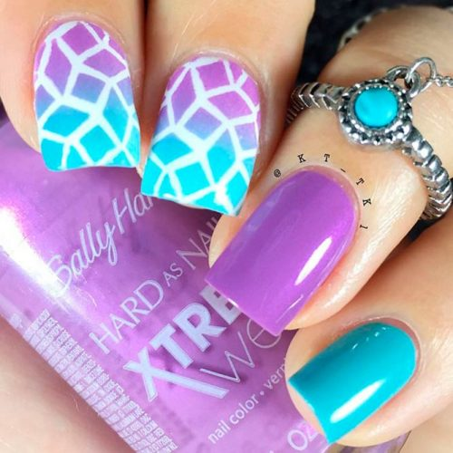 Trendy Ombre Purple Nail Designs With Geometric Pattern #ombrenails #geometricnails