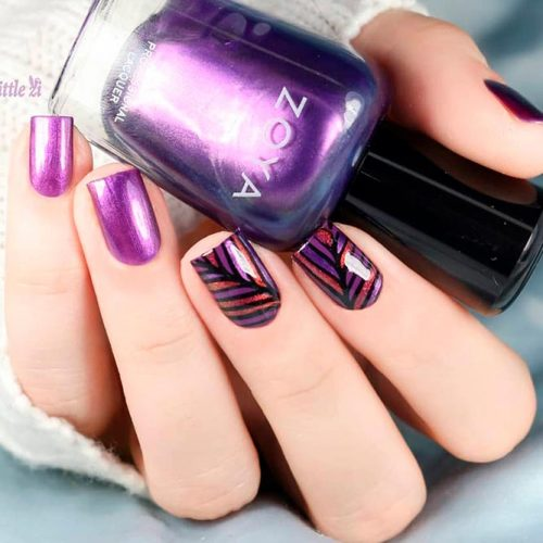Trendy Purple Nail Designs With Geometric Pattern # metallicnails #nailstamping