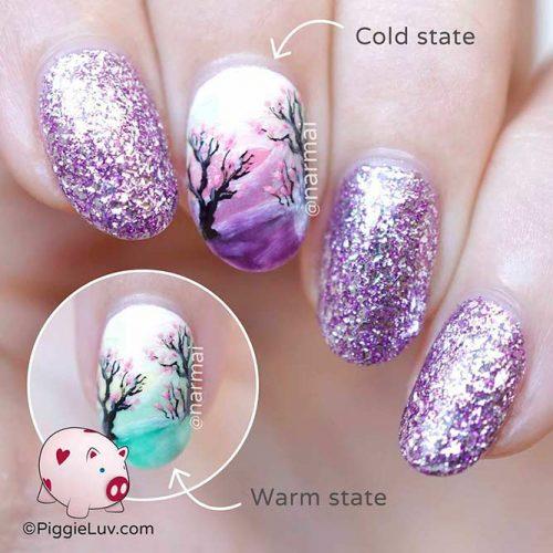 Sparkly Glitter Purple Nails #glitternails