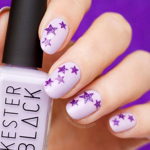 Purple Nails With Stamping Technique Picture 2
