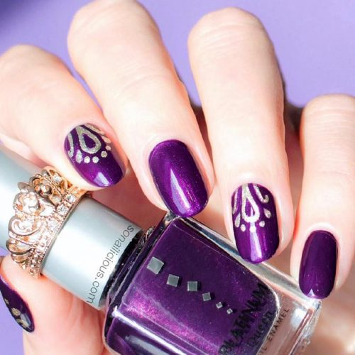 Purple Nails With Stamping Technique Picture 1