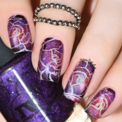 Floral Purple Nail Designs Picture 1