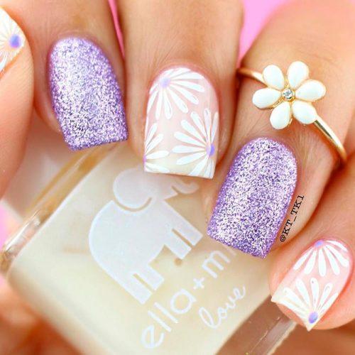 Sparkly Glitter Purple Nails #glitternails #flowersnails
