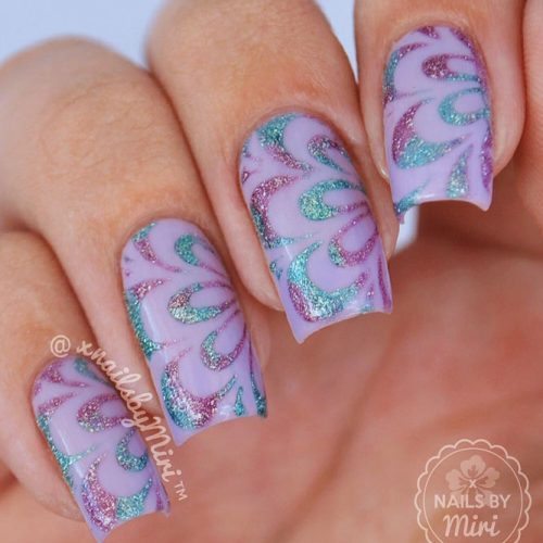 Purple Nails With Stamping Technique Picture 3