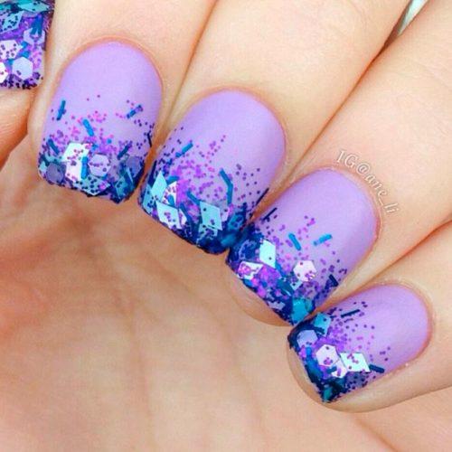 Sparkly Glitter Purple Nails #mattenails #glitternails