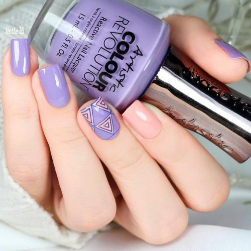 Trendy Purple Nail Designs With Geometric Pattern And Nude Accent #nudenails #nailstamping