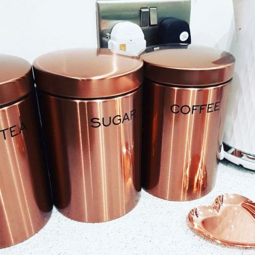 Spice Jars In Rose Gold Color #kitchenitems