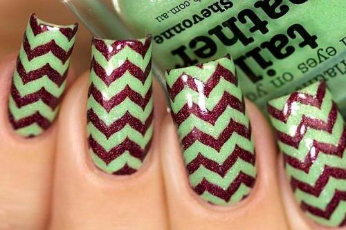 27 Amazing Chevron Pattern Design Nails
