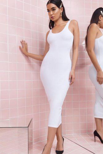 Midi White Dresses For Women picture 2