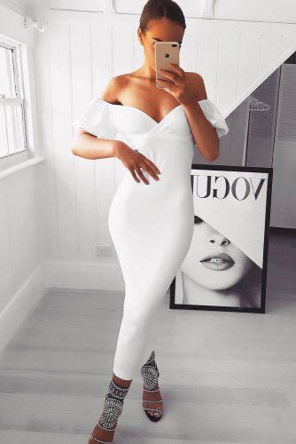 Midi White Dresses For Women picture 6