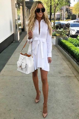 Casual White Dress With Sleeves #dresswithsleeves